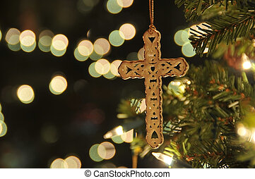 Cross ornament on christmas tree - Cross ornament on...