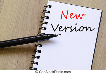 New version concept Notepad - White blank notepad on office...