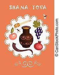 shana tova,holiday card,orange,back - holiday objects in...