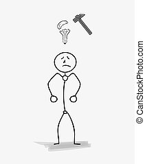man with a broken bulb, idea symbol