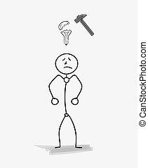 man with a broken bulb, idea symbol