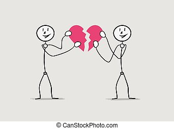 fixing broken heart - two people giving broken heart...
