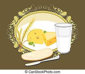 leche,  bread, queso, blanco, etiqueta
