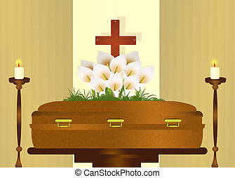 funeral party - illustration of funeral party