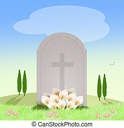 tomb in the cemetery - illustration of tomb in the cemetery