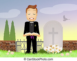 priest celebrates funeral - illustration of priest...