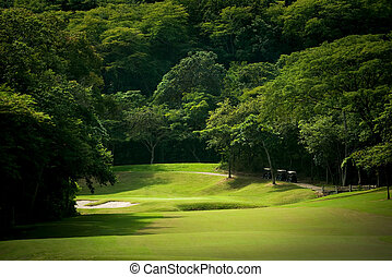 Golf course fairway at tropical resort - Image of a heavily...