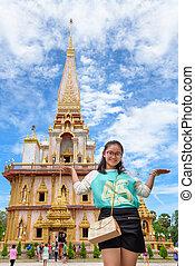 Asian women tourists in Temple Beautiful pagoda at Wat...