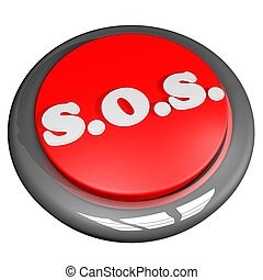 SOS Button - SOS button, isolated over white, 3d render,...