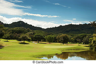 Golf course fairway at tropical resort