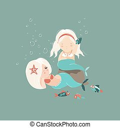 Two little beautiful mermaid girls Vector illustration