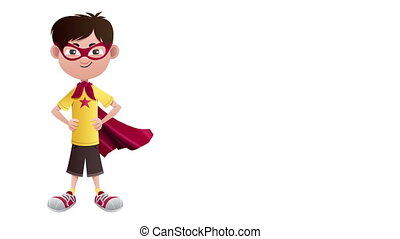 Super Boy Isolated - Looping animation of posing super boy...