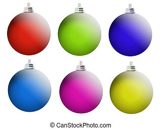 Multi-colored Christmas balls with a matte surface isolated...