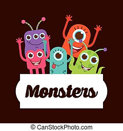 cute monster design, vector illustration eps10 graphic