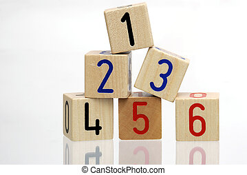 Wooden Blocks with numbers - Stack of Wooden Blocks with...