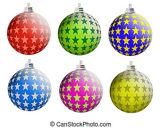 Multi-colored Christmas balls with a matte surface and the...