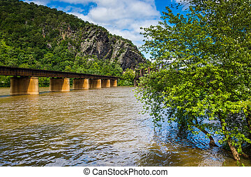 Railroad bridges over the Potomac River in Harpers Ferry, West Virginia.