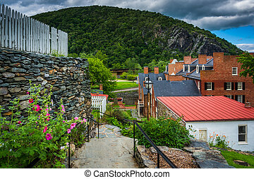 Flowers along a path and view of historic buildings in Harpers Ferry, West Virginia.