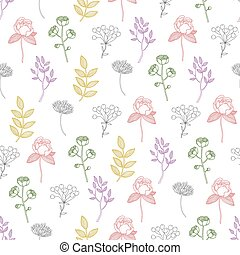 Vector Colorful Growing Plants Line Art Seamless Pattern