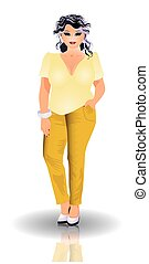 Plus size fashion woman, vector illustration