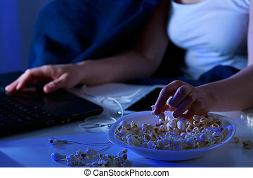 Girl and night snacks - Greedy girl and night snacks during...