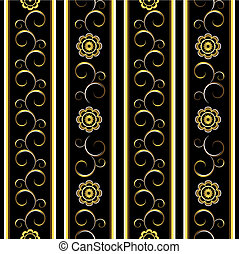 Black floral stripes background vector