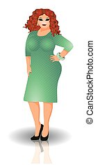 Sensual plus size woman in dress vector illustration