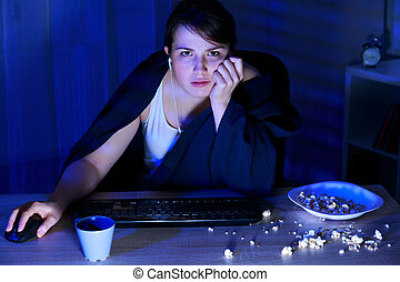 Addiction to computer - Young tired girl and her addiction...