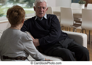 Having a difficult conversation - Elder couple facing up to...