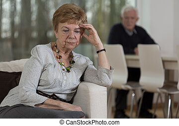Resentful elderly woman after quarrel - Elderly and sad...