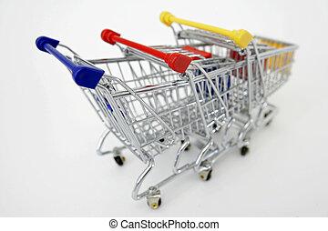 Mini Shopping carts on white background