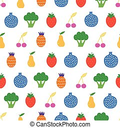 Vector Yummy Fruit Veggies Seamless Pattern graphic design