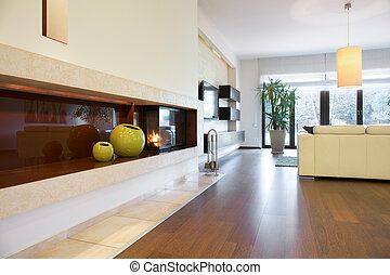 Cozy drawing room - Close-up of burning fireplace in cozy...