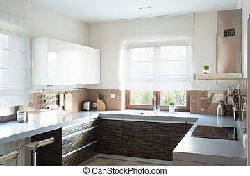 Beige kitchen interior design
