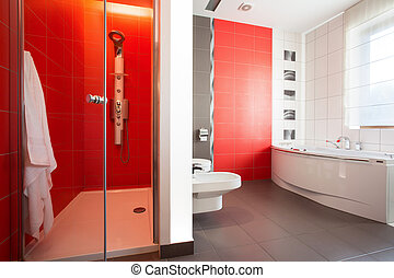 Red tiles in modern toilet - Red tiles on the wall in modern...