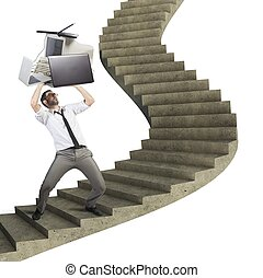 Overload businessman working launches pc from stairs