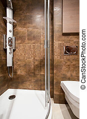 Brown tiles in bathroom interior - Close-up of brown tiles...