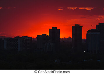 Sunset and clouds sky over Etobicoke, Toronto, Canada