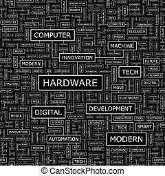 HARDWARE. Seamless pattern. Word cloud illustration.