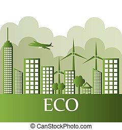 Ecolo city design. - Eco city design, vector illustration...