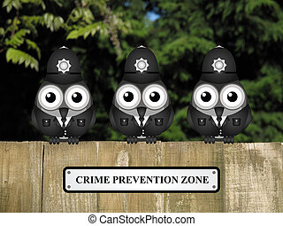 Crime prevention Zone UK - Comical British bird policemen...