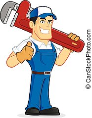 Plumber holding a huge pipe wrench - Clipart picture of a...