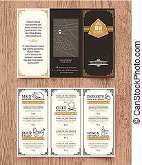 Vintage Restaurant menu design pamphlet template - Vintage...