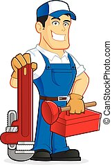 Plumber holding tools - Clipart picture of a plumber cartoon...