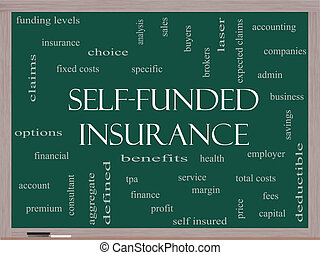 Self Funded Insurance Word Cloud on a Blackboard with great...
