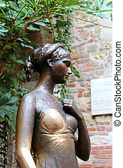 Closeup of the bronze statue of Juliet in the courtyard of...