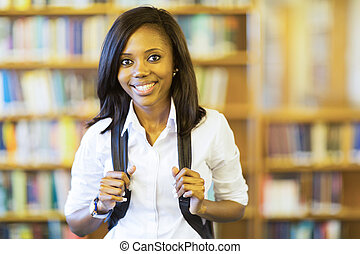 african college girl - smiling african college girl looking...