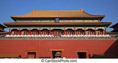 Gugong Forbidden City Palace Entrance Gate Beijing China -...