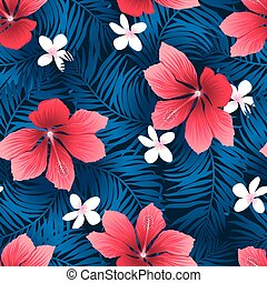 Tropical red hibiscus flowers in a seamless pattern.