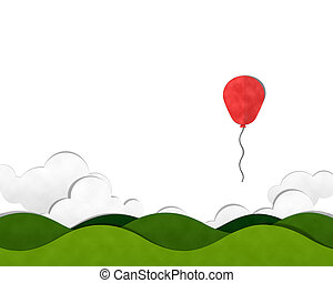 Mountain and Cloud sky with Colorful Balloon